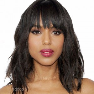 Silk Base Wigs Natural Wavy Style Cut Bob Wigs With Thick Bangs Human Hair Wigs