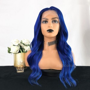 Victoria Remy Hair Lace Front Wigs Bright Blue