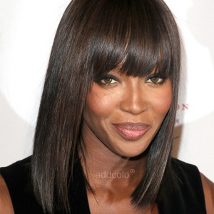 【Wigs】Rihanna &Naomi-Campbell Human Hair Wigs Straight Bob Wig with Bangs