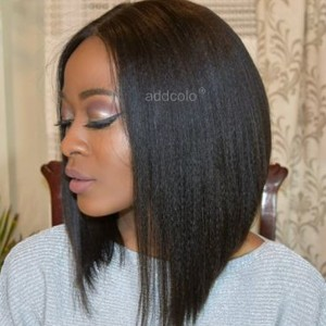 Human Hair Lace Front Wigs Natural Color Brazilian Hair Yaki Bob Wig