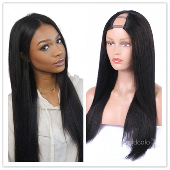 817a6310648 10A Virgin Hair Silk Straight U Part Wig Natural Color Unprocessed Human  Hair Upart Wigs