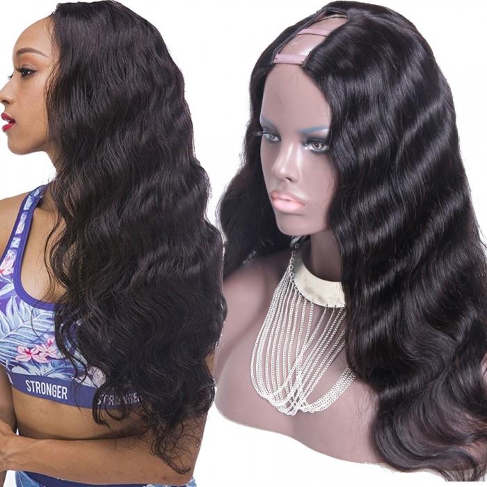 44b87b6bf Cheap U Part Wigs Brazilian Hair Body Wave Natural Color Human Hair Wigs
