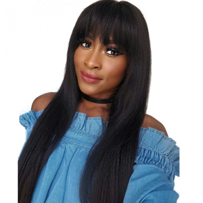 Lace Front Wigs Brazilian Hair Straight Wig With Bangs Natural Color