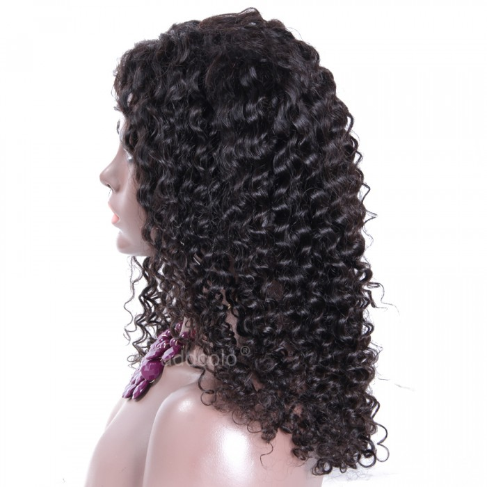 Silk Top Glueless Lace Wigs Kinky Curly Middle Part Human Hair Wigs