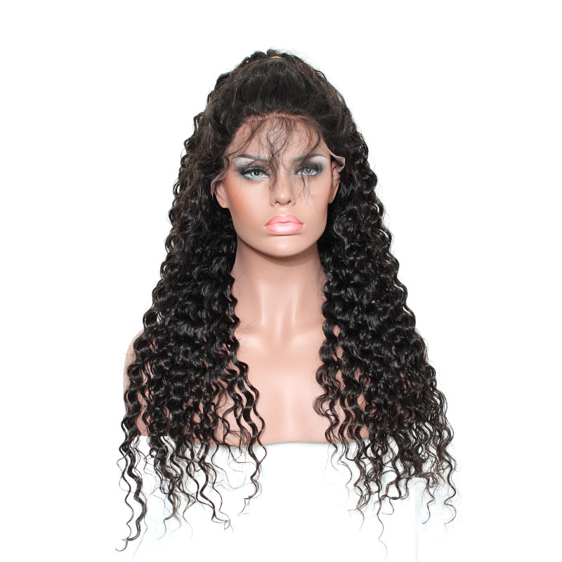Lace Front Wigs Brazilian Hair Deep Curly Wig Natural Color